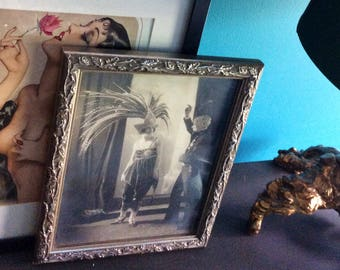 1920s Celebrity Chicago Feather Hat Flapper Girl Photo with Silver Frame