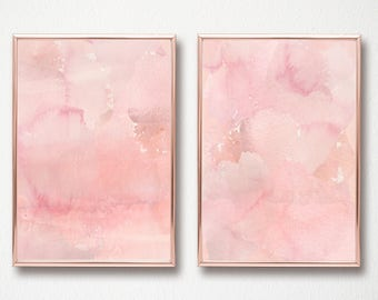 Abstract Watercolor Coral Set of 2 digital art prints printable wall art set of 2 digital art prints 11x14 and 12x16 instant download art