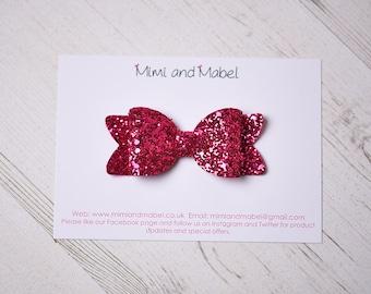Fuchsia hair bow, glitter hair bow, hot pink hair bow, baby headbands, girls bows, girls hair clips, toddler hair clip, baby bows, girls bow
