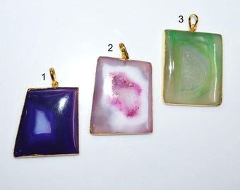 1 Piece Agate Druzy Geode Slice Electroplated Edge - Agate Druzy 24k Gold Plated Pendant , 48 - 55 mm , AH348 (You Choose)