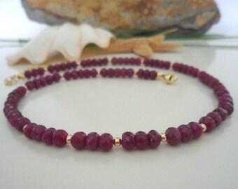 Ruby & gold, gemstone necklace
