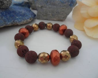 Bracelet Brown lava with bohemian glass