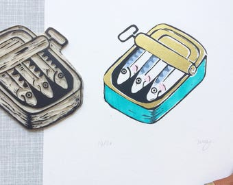 Sardines 5 color 'A4 limited edition (20) handprinted linocut print'