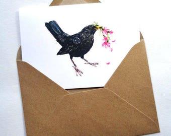 Blackbird Greetings Card, Valentines Card, Birthday Card   Blank Watercolour Card