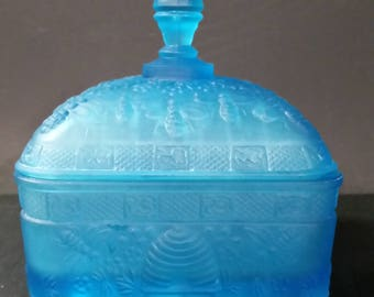 Vintage frosted blue square lidded, 4 footed candy dish.