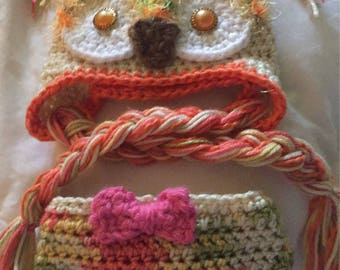 Crocheted little girls owl photo prop outfit