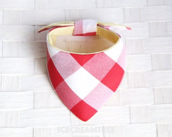 Tie on Modern Pet Bandana Scarf, Pet Fashion Scarf, Dog Bandana Scarf, Cat Bandana Scarf - Red Gingham - Icecreamtree Studio