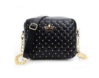 Women Fashion Messenger Rivet Chain Shoulder Bag