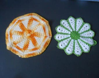 FREE SHIPPING in USA Vintage Cotton Hand Crocheted Pot Holders Yellow and White Octagonal Shape  White and Green Flower Shaped  593B