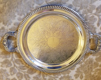 Vintage  Silverplate Tray with Handles - Sheridan