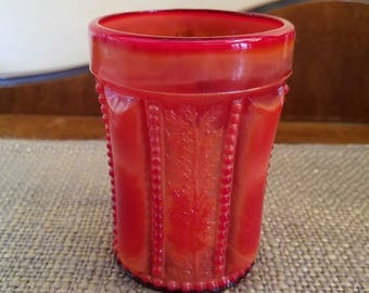 """Vintage Joe St Clair Glass Co. Red Slag Glass Holly Tumbler - 3 7/8"""" Tall - Beaded Holly Band - Red Slag Glass Water Glass Tumble"""