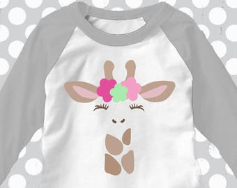 Giraffe svg, Giraffe with eyelashes, Giraffe with flowers, Giraffe girl, SVG, DXF, Giraffe clip art, Giraffe face svg, baby shower, birthday