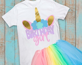 Unicorn svg, birthday Unicorn svg, Birthday girl, shirt, iron on Transfer, eps, Unicorn shirt svg, Unicorn horn svg, rainbow, birthDAY svg