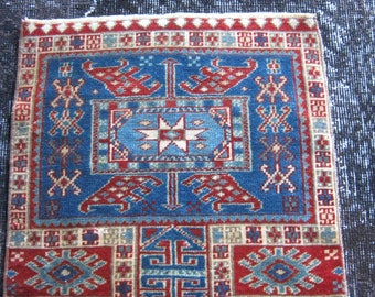 Turkish Rug 1x2 Red Wool Pile Small Vintage Rug Hand Knotted Semi Antique Area Rug - AINE0102