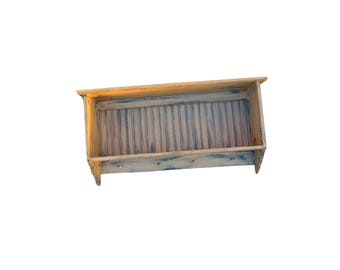 Primitive Wall Shelf With Pegs/wall Decor
