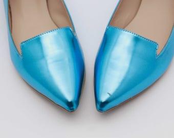 Blue wedding shoes Valentine's gift My something blue Leather Bridal shoes Wedding shoes Flats Handmade leather shoes women gift blue shoes