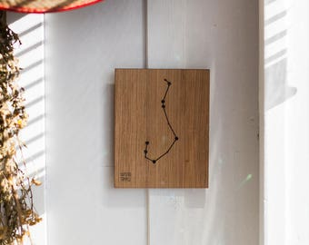 Scorpious Constellation Wooden Picture, Zodiac Constellation Wooden Picture, Wooden Picture, Stars, Scorpio