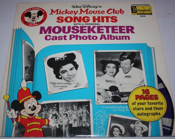Walt Disney's Mickey Mouse Club Song Hits Mouseketeer Cast Photo Album 1975 Disneyland Record 3815
