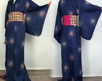 "K020404 Japanese Do-Nuki ""Odori"" Komon Kimono Vintage"