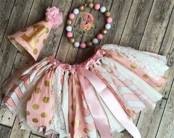 Pink gold and white rag skirt, gold and pink fabric skirt, fabric and tulle skirt, 1st bday skirt, rag skirt