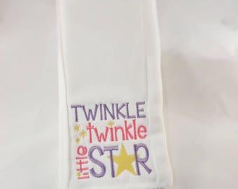 Twinkle twinkle little star burp cloth, burp cloths, burp clothes, personalized burp cloths, burp cloths girl, burp cloths boy