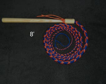 8'  Cow Whip - Electric Blue & Neon Orange - Paracord