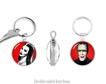 Lily Munster Herman Munster Double Sided Keychain Pendant Munsters Key Ring The Munsters Two Sided Keyfob