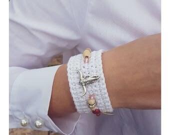 Cuff Bracelet pink & white