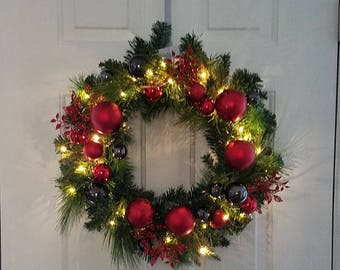 "ESE Christmas pre-lit led Wreaths 24"", Garland 72"",  decorated with glitter red & black Ornaments Ball"