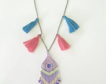 Purple bohemian necklace and tassels