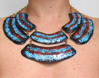 Necklace 70 s enamel Enamel 1970's designer bib / turquoise / ethnic Bohemian