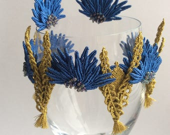"Set bracelet and earrings ""Cornflowers"""