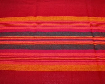 Decorative large vintage Christmas rectangular 70s Tablecloth with stripes. Made in Sweden Scandinavian.