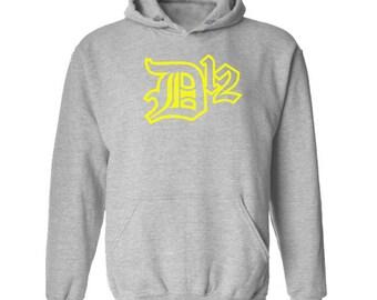 D12 Yellow Logo Hoodie Classic Vintage Style Hip Hop Fleece Sweatshirt Rap Merch Shady Records Eminem Revival Detroit Emcees New