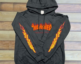 Thrasher Logo Red Orange Sleeves Unisex hoodie front only Graphic hoodie 6