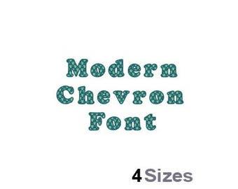 Modern Chevron Font - Machine Embroidery Font - 4 Sizes, Lettering, Letters, Alphabet, Font Set, Numerals, Patterned Font