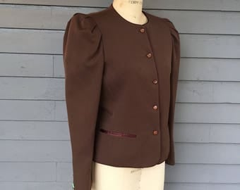 80's Tahari Brown Puff Sleeve Button Front Blazer | Size 8 | Made in the USA