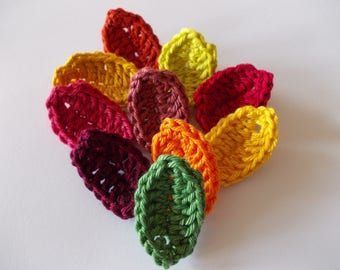 10 crochet leaves in fall colors