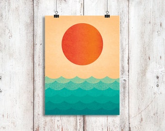 Vintage Sunset! Faded, Wall Decor, Prints, Posters, Home Decor, Posters, Prints, Bedroom, Colour