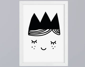 Princess face art print without frame