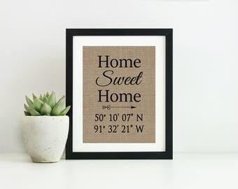 Custom Coordinates Sign- Home Sweet Home Sign- Wedding Gift- Home Coordinates Sign-GPS Coordinates-Latitude Longitude Sign-Housewarming Gift