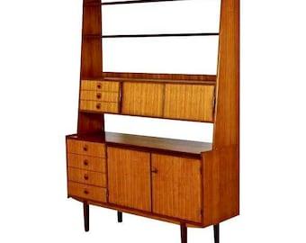 vintage danish mid century modern teak bookshelf secretary credenza desk