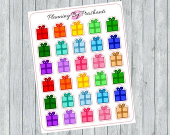 Multicoloured Presents Gifts Birthdays Christmas Planner Stickers - For the Erin Condren Life Planner and Happy Planner