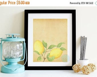 25% OFF SALE- VINTAGE Printable Kitchen Wall Art Lemon Printable Lemon Print Lemon Decor Lemon Poster Vintage Kitchen Vintage Poster