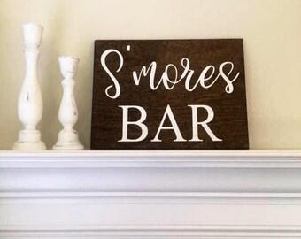 "S'mores Bar Sign-Wedding Reception S'mores Sign-9"" x 12"" Rustic Wedding Sign-Wedding Prop"