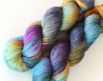 Mellow l   50/50 superwash merino silk    fuchsia pink violet yellow turquoise navy blue yellow variegated sock yarn