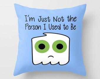Ghost Pillow, Pillow Cover, Pillow Case, Blue Pillow, Halloween Pillow, Funny Pillow, White Pillow, Cute Pillow, LOL Pillow, Halloween Humor