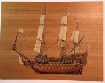 "Vintage Italian print on wood veneer of 17th century sailing ship ""Royal Sovereign"""