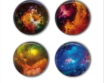 Nebula magnets or nebula pins, Galaxy magnets, galaxy pins, space magnets, space pins, solar system, refrigerator magnets, fridge, office