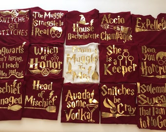 Bachelorette Party shirts , Harry Potter Gold  Themed Bridal Shower , Tank tops , Bride Crew T-Shirts, Wedding gifts, bachelorette party.
